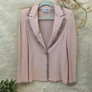 St. John Evening Pink Embellished Blazer 8
